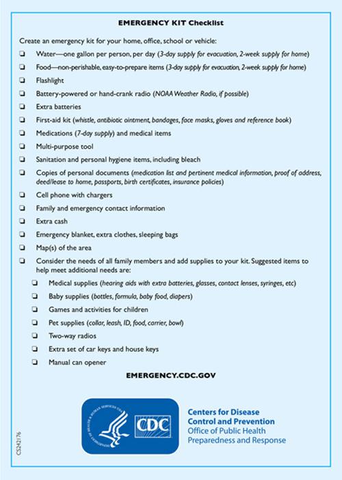 CDC emergency kit