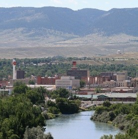 Overview of downtown, looking south toward Casper Mountain, with North Platte River in foreground